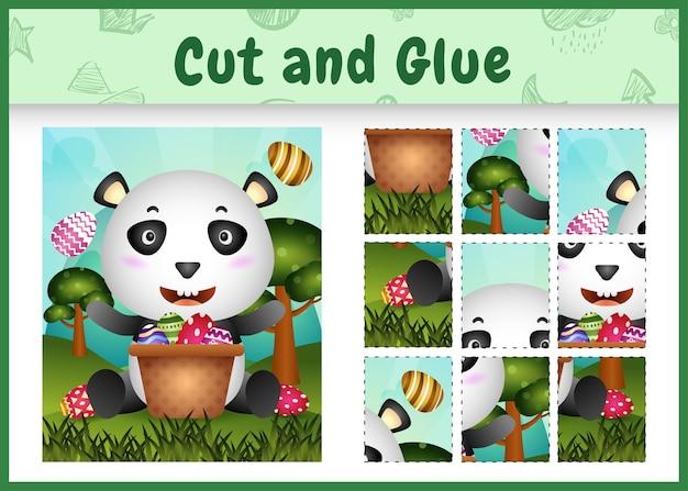 Gioco da tavolo per bambini taglia e incolla a tema pasqua con un simpatico panda nel secchio dell'uovo