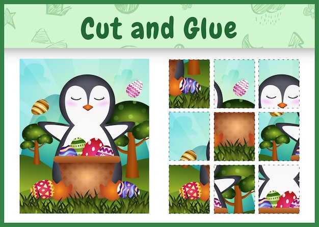 Gioco da tavolo per bambini taglia e incolla a tema pasqua con un simpatico pinguino nel secchio dell'uovo