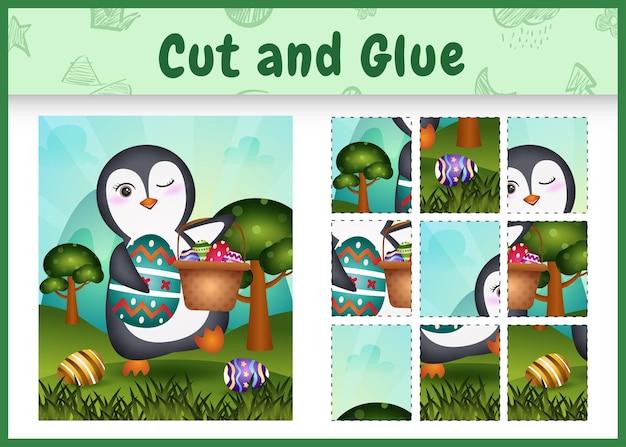 Gioco da tavolo per bambini taglia e incolla la pasqua a tema con un simpatico pinguino che tiene l'uovo del secchio e l'uovo di pasqua