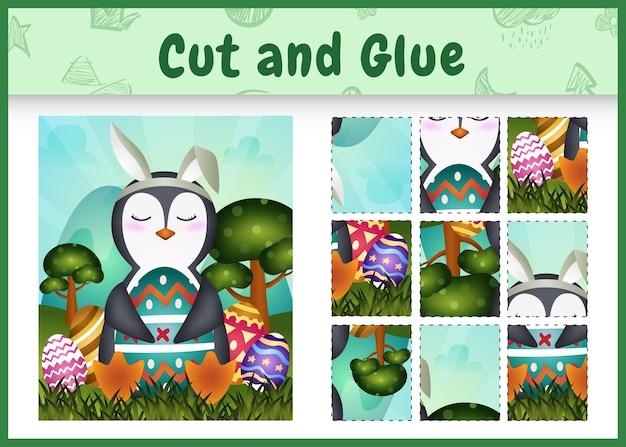 Gioco da tavolo per bambini taglia e incolla a tema pasqua con un simpatico pinguino usando fasce con orecchie da coniglio che abbracciano le uova