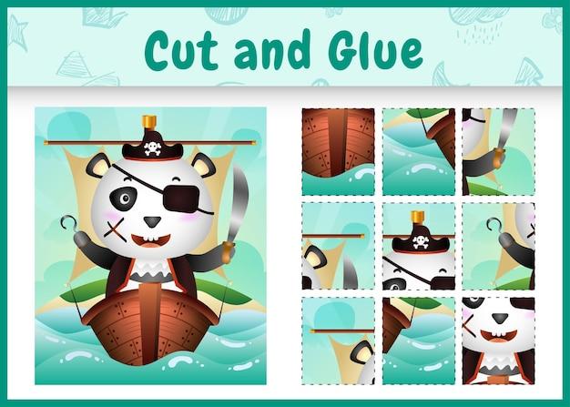 Gioco da tavolo per bambini taglia e incolla a tema pasqua con un simpatico personaggio panda pirata sulla nave Vettore Premium