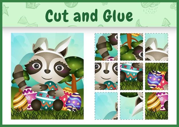 Gioco da tavolo per bambini taglia e incolla la pasqua a tema con un simpatico procione usando fasce con orecchie da coniglio che abbracciano le uova