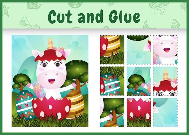 Gioco da tavolo per bambini taglia e incolla la pasqua a tema con un simpatico unicorno nell'uovo
