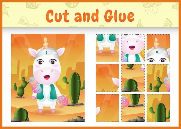 Gioco da tavolo per bambini taglia e incolla la pasqua a tema con un simpatico unicorno usando il costume tradizionale arabo