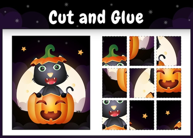 Gioco da tavolo per bambini taglia e incolla con un simpatico gatto nero nella zucca di halloween