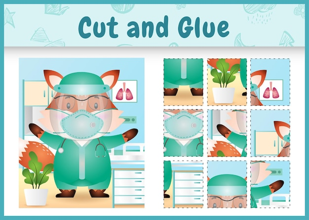 Gioco da tavolo per bambini tagliato e incollato con una volpe carina usando l'equipe medica in costume