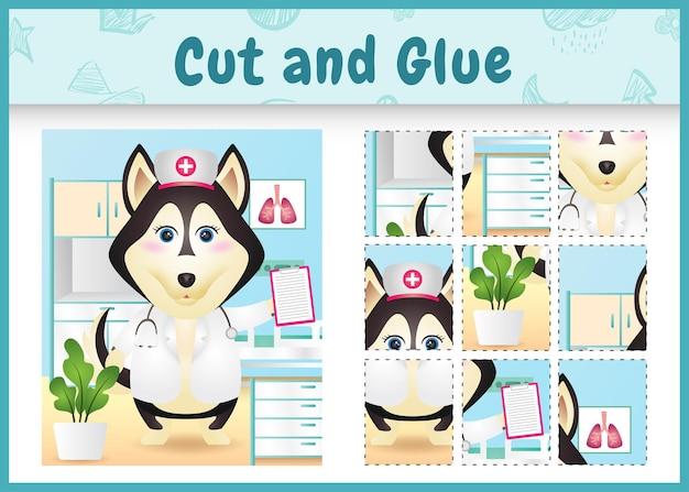 Gioco da tavolo per bambini tagliato e incollato con un simpatico cane husky usando infermiere in costume