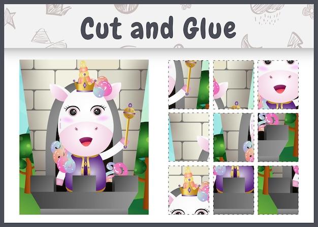Gioco da tavolo per bambini tagliato e incollato con un simpatico personaggio di unicorno re