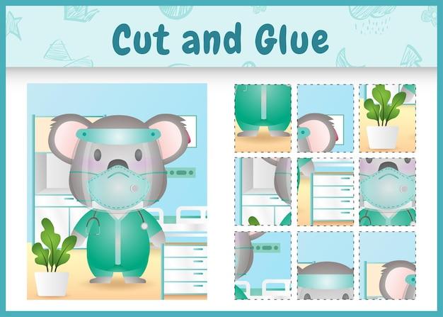 Gioco da tavolo per bambini tagliato e incollato con un simpatico koala usando l'equipe medica in costume