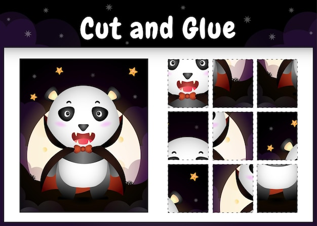 Gioco da tavolo per bambini taglia e incolla con un simpatico panda usando il costume di halloween dracula