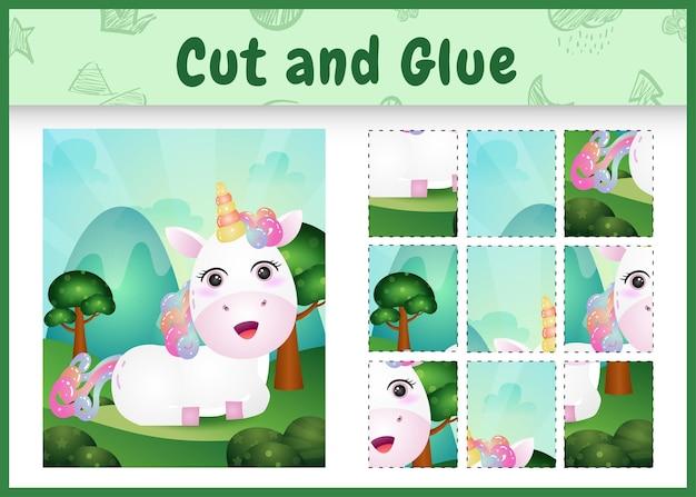 Gioco da tavolo per bambini taglia e incolla con un simpatico unicorno