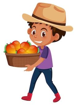 Ragazzo dei bambini con frutta o verdura isolato su bianco