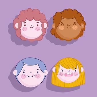 Bambini, ragazzi affronta il personaggio dei cartoni animati icona maschile imposta illustrazione