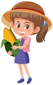 Personaggio dei cartoni animati dei bambini che tiene frutta o verdura isolata su bianco
