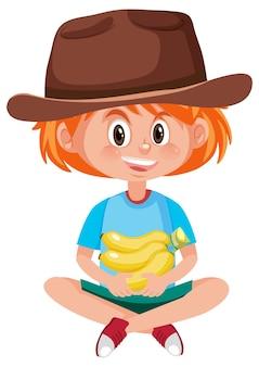 Personaggio dei cartoni animati dei bambini che tiene frutta o verdura isolata