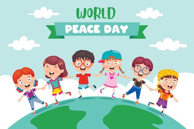 Bambini che celebrano la giornata mondiale della pace