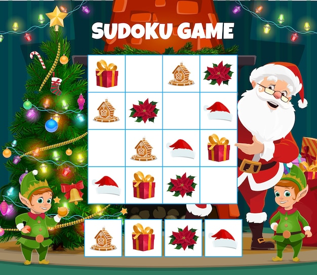 Bambini natale sudoku puzzle game vector