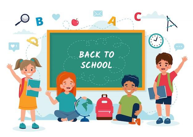 Bambini in classe con una lavagna, ritorno al concetto di scuola, simpatici personaggi.