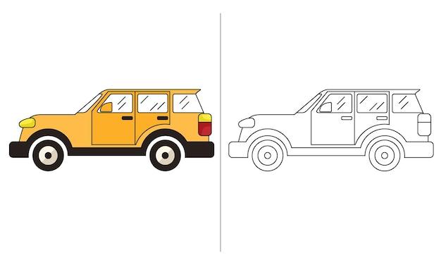 Illustrazione del libro da colorare per bambini yellow estate car