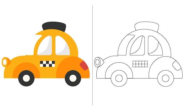 Illustrazione del libro da colorare per bambini giallo mini taxi car