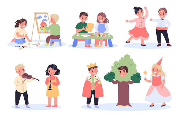 Set hobby creativo per bambini. bambini che disegnano, creano, ballano, recitano e suonano strumenti musicali. scolari creativi e attivi.