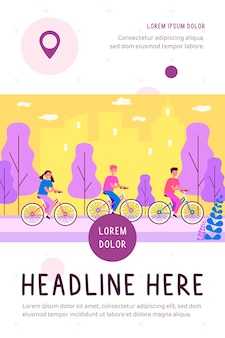Bambini che vanno in bicicletta nell'illustrazione piana del parco della città