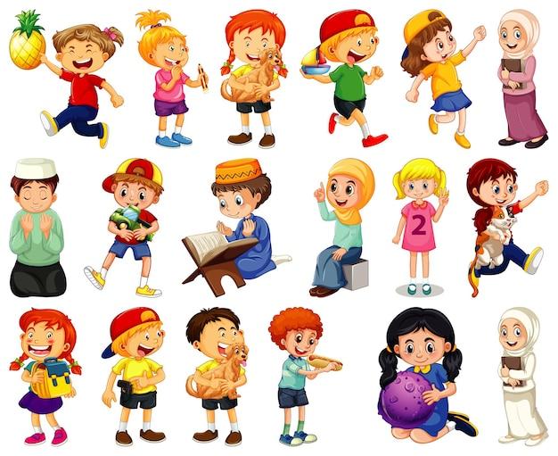 Bambini che svolgono diverse attività di personaggi dei cartoni animati su sfondo bianco