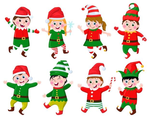 Bambini in costumi da elfo bambini divertenti che indossano i costumi di carnevale degli elfi aiutanti di babbo natale vettore