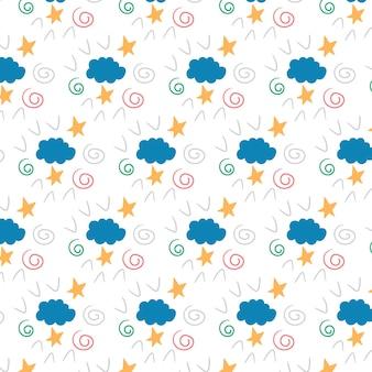 Modello di fata dei bambini dalle stelle di una nuvola di segni di spunta di spirali. sfondo modificabile vettoriale
