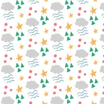 Fantasia per bambini fatta di forme geometriche di stelle e nuvole. sfondo modificabile vettoriale