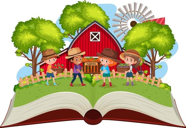 Bambini in fattoria su sfondo bianco