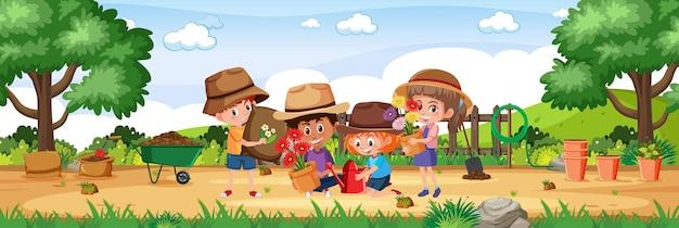 Bambini in giardino con elementi di giardinaggio paesaggio orizzontale scena durante il giorno