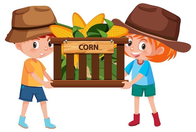 Bambini ragazza e ragazzo con frutta o verdura su bianco