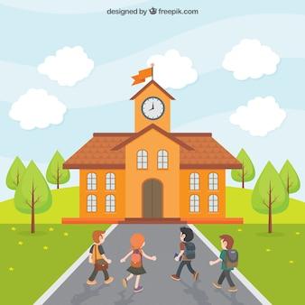 I bambini vanno a scuola Vettore Premium