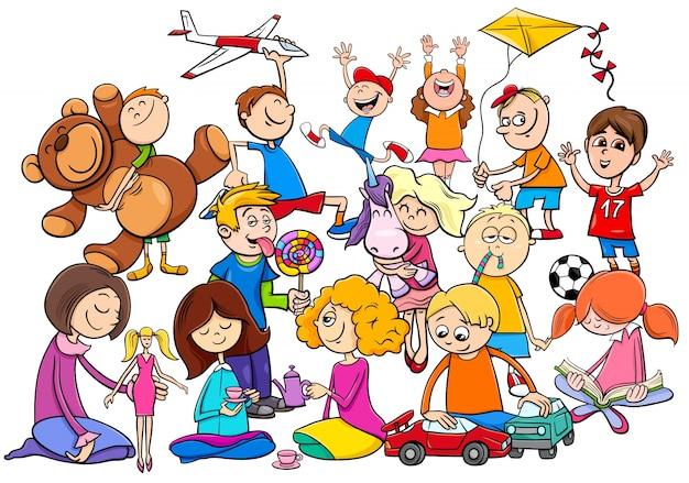 Gruppo di bambini che giocano con i giocattoli del fumetto