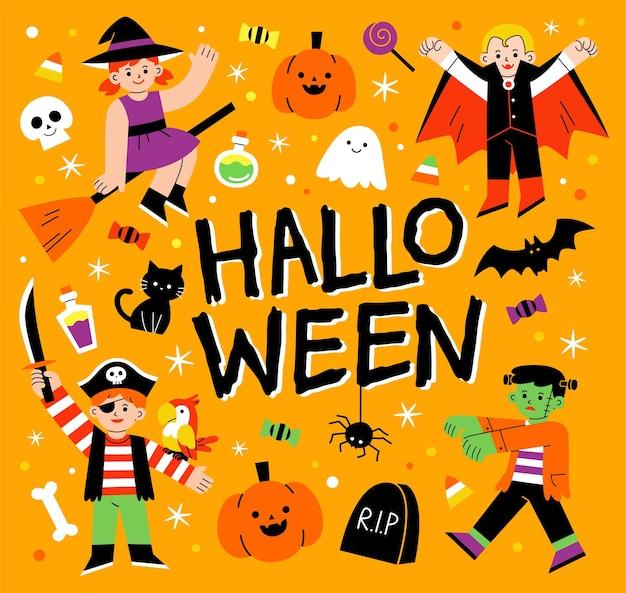 Bambini in costume di halloween per dolcetto o scherzetto. modello per brochure pubblicitaria. felice concetto di halloween.