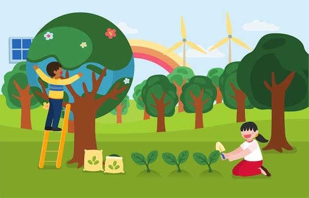 I bambini aiutano a piantare alberi in una felice giornata della terra nel personaggio dei cartoni animati