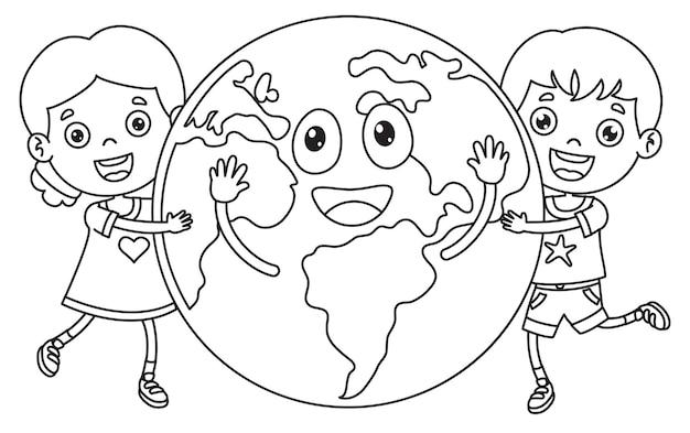 Bambini che tengono una palla di terra, disegno al tratto per bambini da colorare