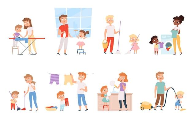 Faccende domestiche dei bambini. camera di pulizia ragazzi e ragazze dell'apparecchiatura di lavaggio che aiutano i genitori della gente del fumetto.
