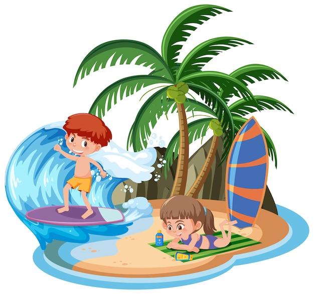 Bambini sull'isola isolata