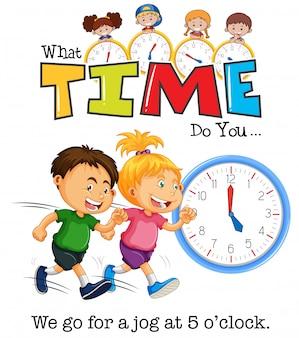 Bambini che fanno jogging alle 5 in punto