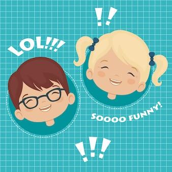 Bambini che ridono espressione facciale