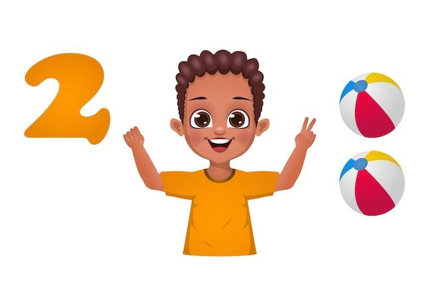 Bambini che imparano il conteggio dei numeri con le dita