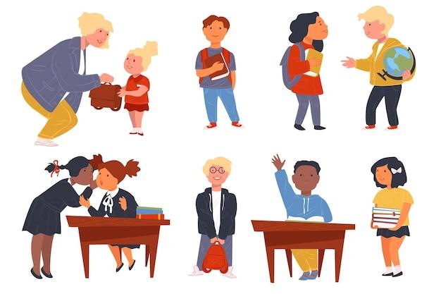 Bambini che acquisiscono conoscenze a scuola, comunicazione con compagni di classe e insegnanti