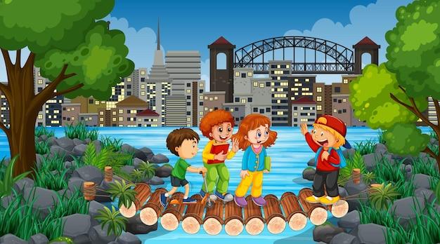 Bambini all'illustrazione della natura all'aperto