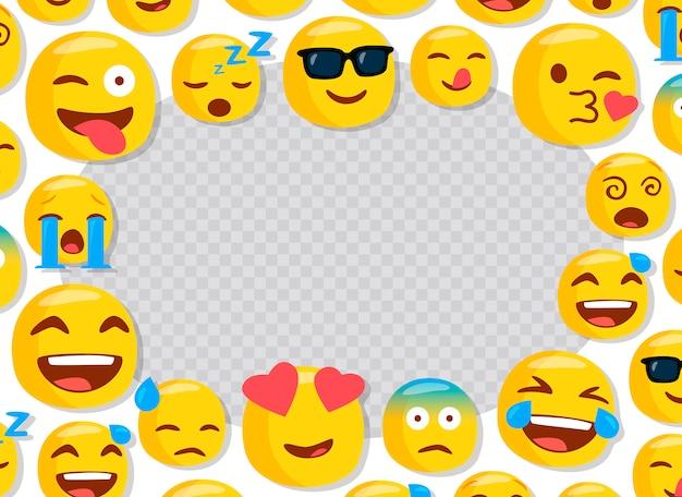 Cornice per bambini con emoji divertenti Vettore Premium
