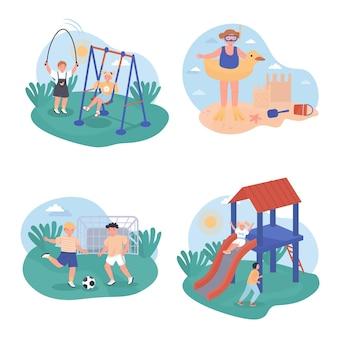 I bambini giocano scene concettuali impostate