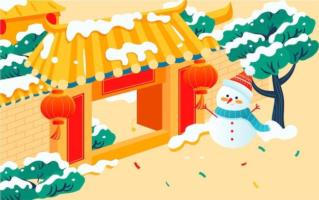 I bambini giocano all'aperto in inverno illustrazione dei caratteri del capodanno cinese e del saluto del nuovo anno