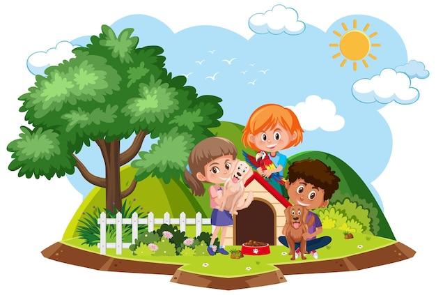 I bambini giocano con il cane isolato