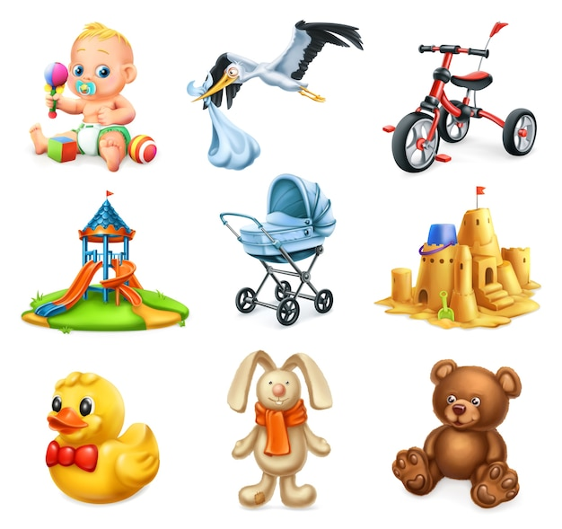Parco giochi per bambini. set di giocattoli e bambini
